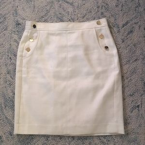 LOFT White Pencil Skirt With Gold Button Detail